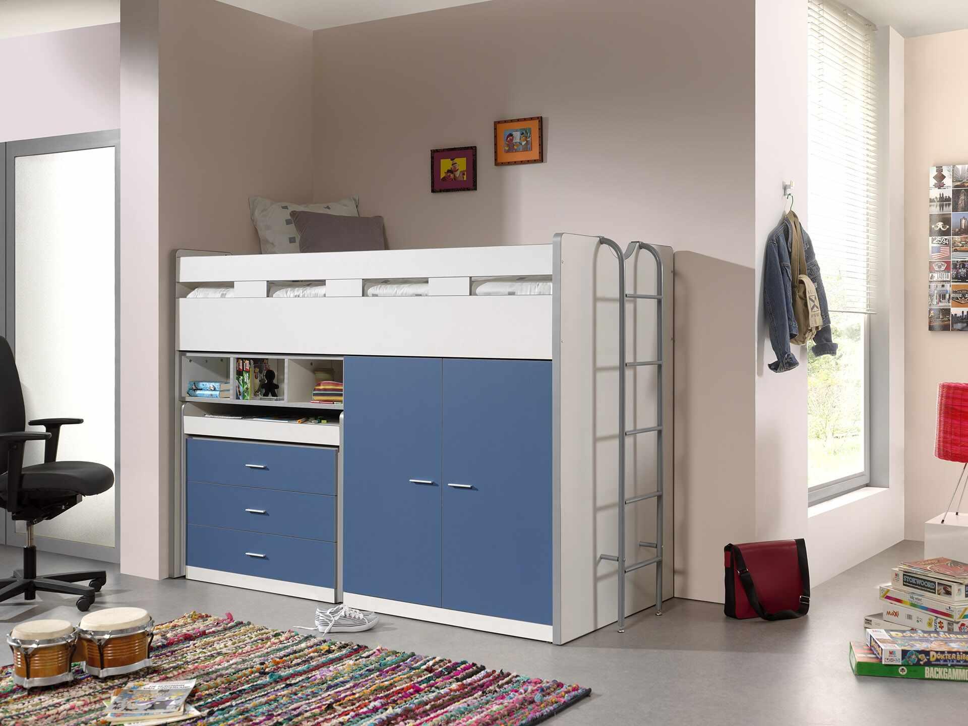 Pat etajat din pal si metal cu birou incorporat, 3 sertare si dulap, pentru copii Bonny High Alb / Albastru, 200 x 90 cm la pret 4547 lei
