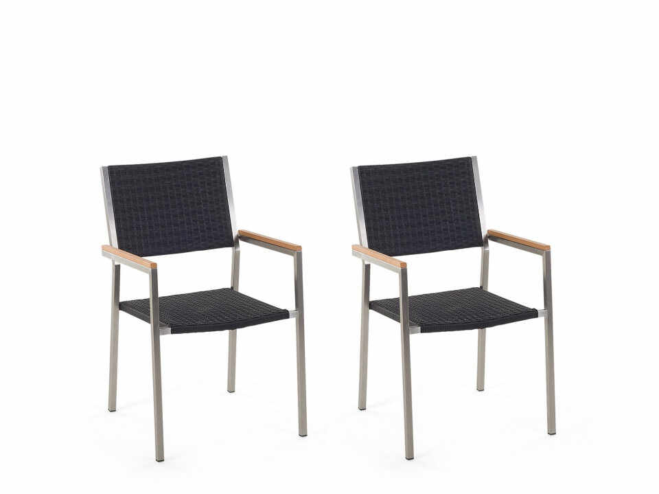 Set de 2 scaune GROSSETO de gradina din ratan, negru la pret 981.85 lei
