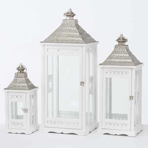 Set 3 felinare decorative din lemn Kubino Alb, L32xl32xH81 cm / L25xl25xH65 cm / L18xl18xH45 cm la pret 901 lei