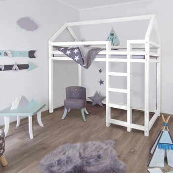 Pat înalt din lemn pentru copii Benlemi Nestys,120x200cm, alb la pret 3379 lei