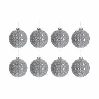Set 8 globuri din sticlă pentru Crăciun J-Line Bauble, ø 7,8 cm, argintiu la pret 190 lei