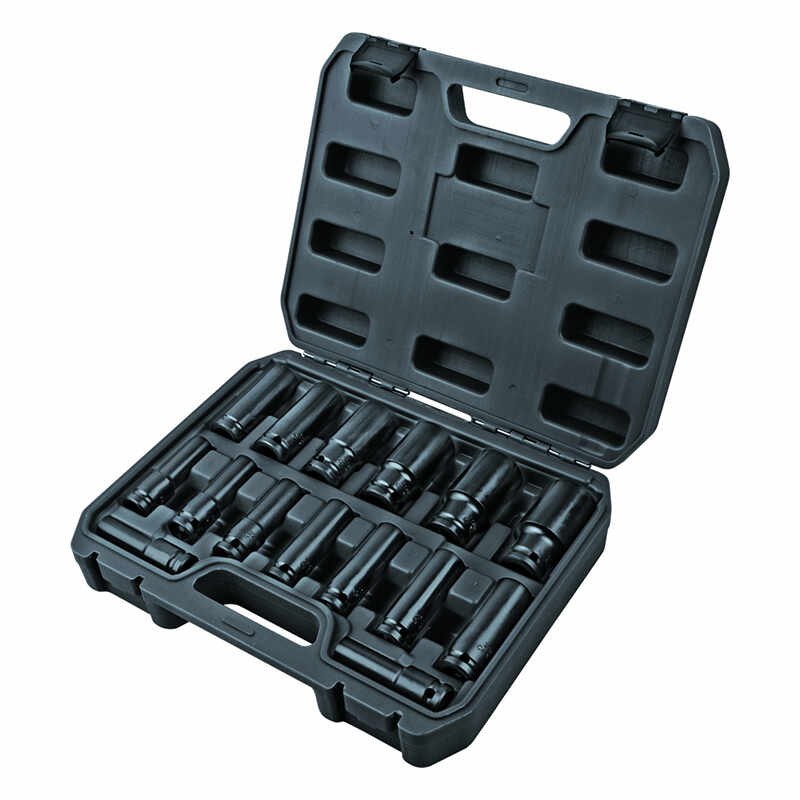 Set 15 chei tubulare lungi de impact Top Master Pro, 10-35 mm, prindere 1/2 inch, otel crom-molibden la pret 232 lei