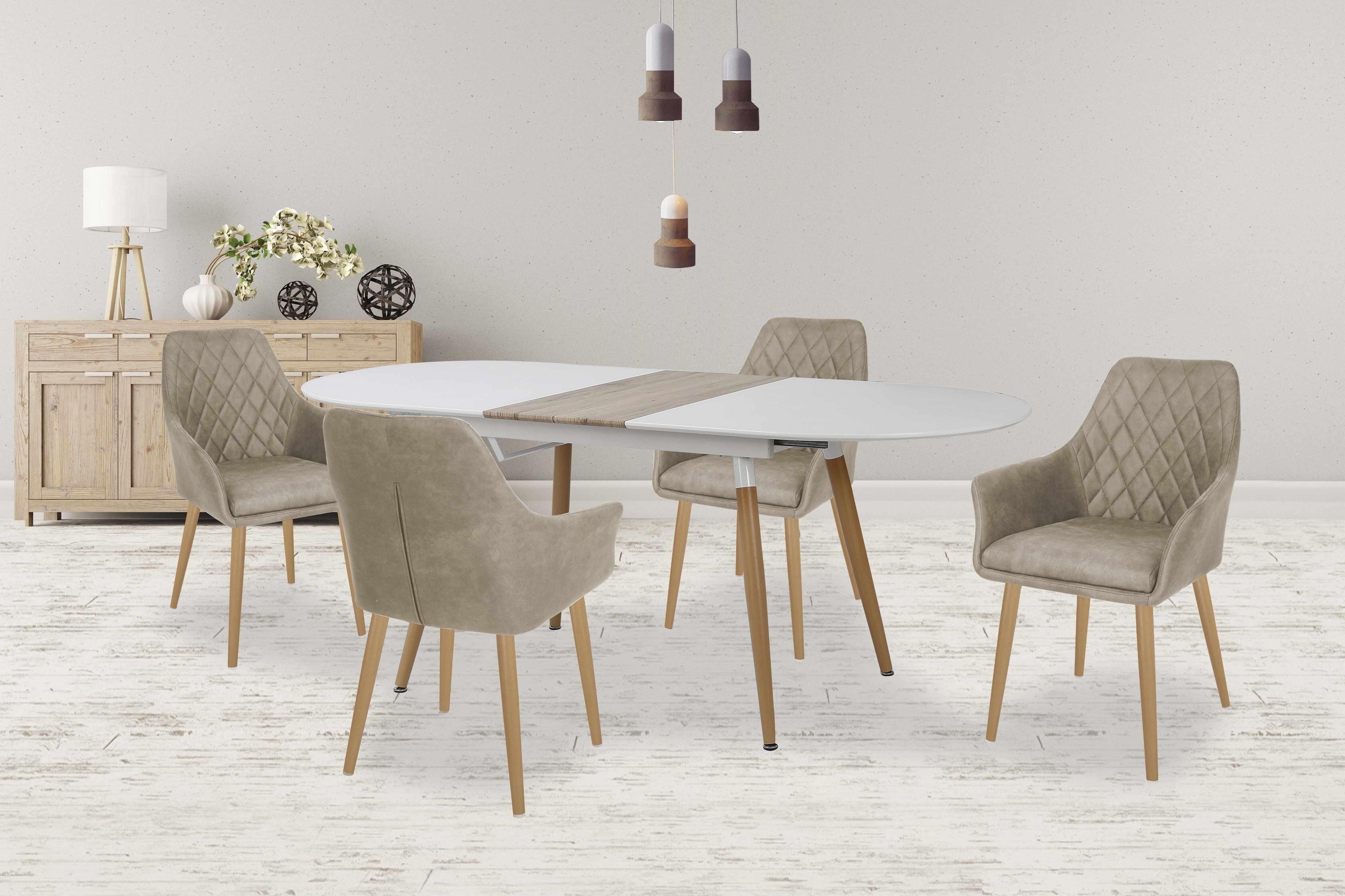 Set masa extensibila din MDF si metal Caliber White / Oak San Remo + 4 scaune K287 Beige, L160-200xl90xH76 cm la pret 2796 lei