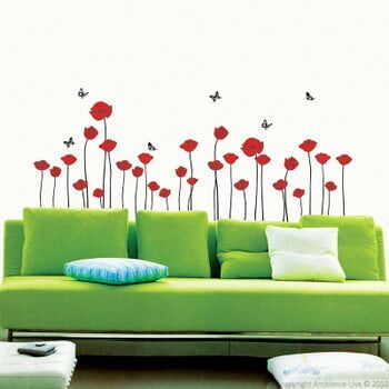 Set autocolante Ambiance Red Poppy Flowers la pret 64 lei