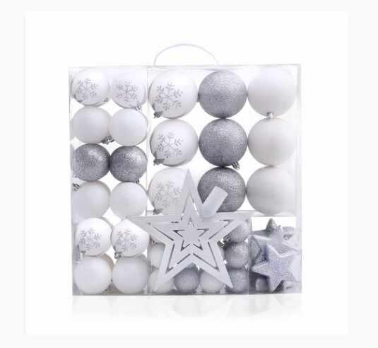 Set 76 globuri si stelute pentru brad din plastic Lux Alb / Argintiu, Ø10 / Ø20 / Ø4 cm la pret 171 lei