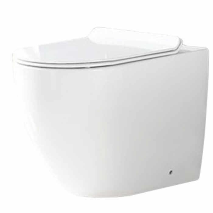 Set vas wc pe pardoseala Rea Carlo rimless + capac slim softclose la pret 929 lei