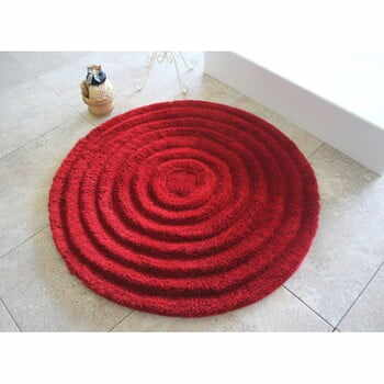 Covoraș de baie Confetti Bathmats Ecru, Ø 90 cm, roșu la pret 224 lei
