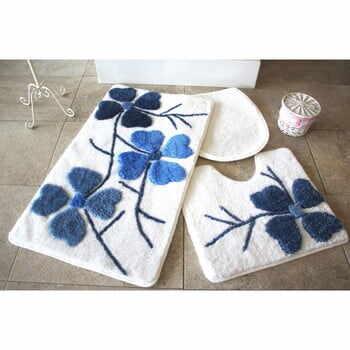 Set 3 covorașe de baie Confetti Bathmats Flowers, albastru - alb la pret 224 lei