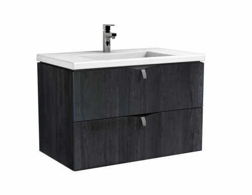 Set dulap baza suspendat negru cu 2 sertare Oristo Siena si lavoar din marmura Beryl 80 cm la pret 2648 lei