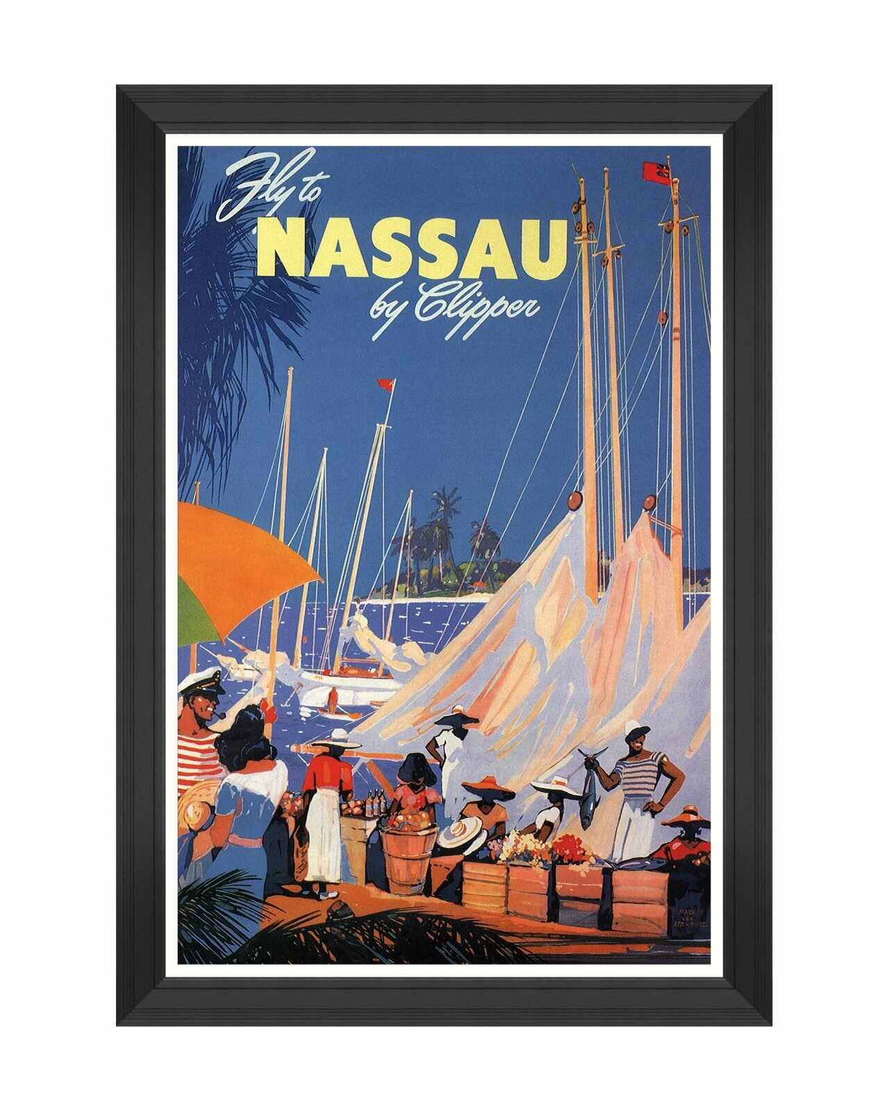 Tablou Framed Art Caribbean Travels - Fly To Nassau, 60 x 90 cm