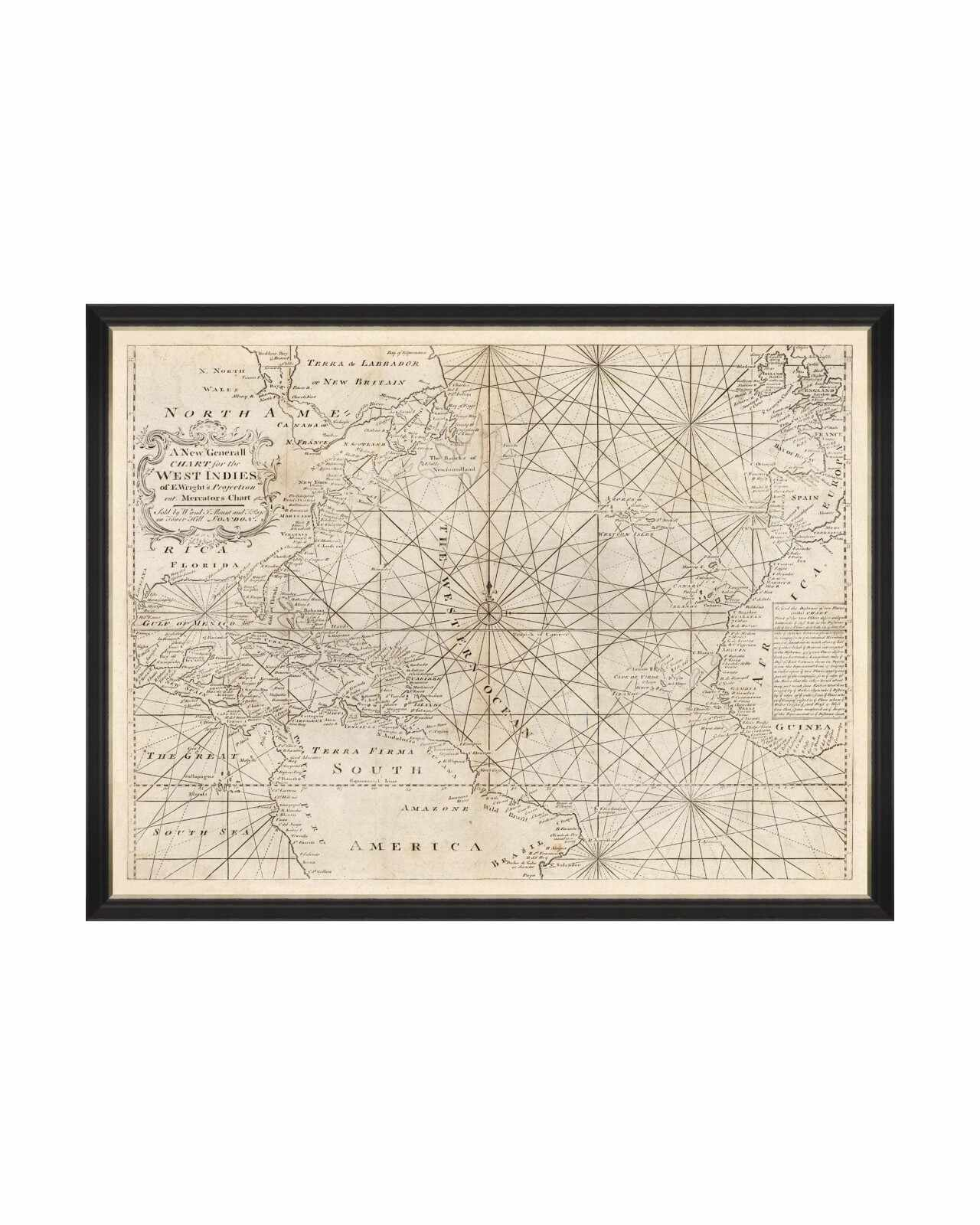 Tablou Framed Art Map of West Indies 1716, 120 x 90 cm