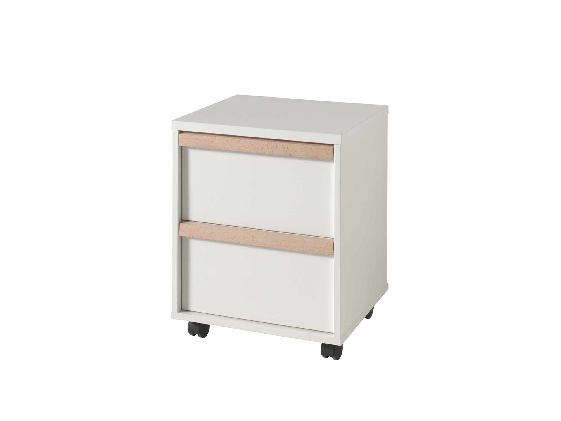 Cabinet din lemn de fag si pal, pe rotile cu 2 sertare pentru copii London Alb / Natural, l48,1xA44xH60 cm la pret 926 lei
