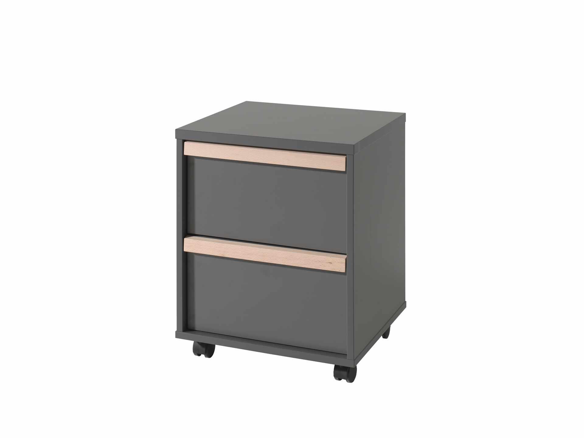 Cabinet din lemn de fag si pal, pe rotile cu 2 sertare pentru copii London Antracit / Natural, l48,1xA44xH60 cm la pret 884 lei