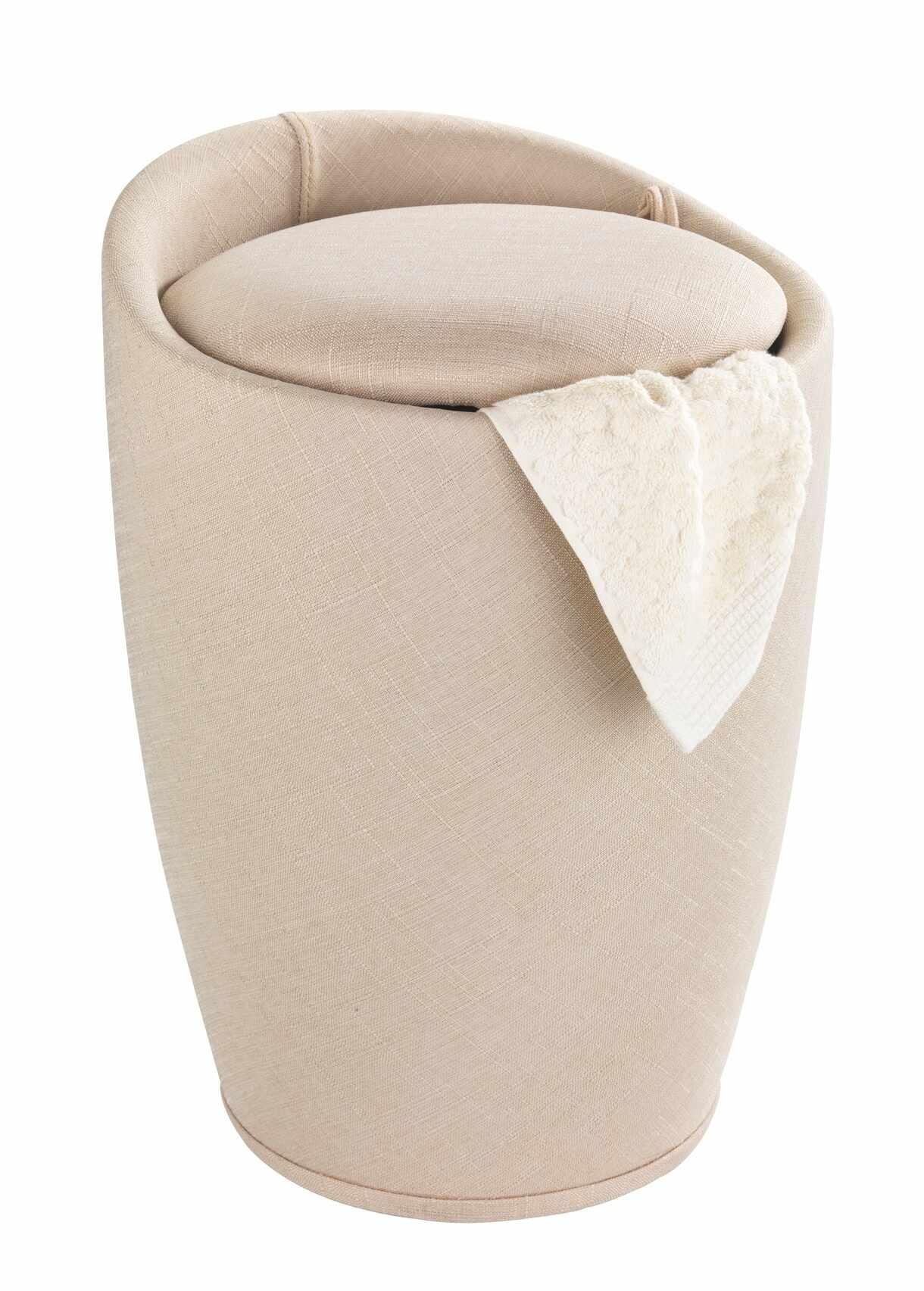 Cos de rufe / Taburet din plastic, tapitat cu stofa, Candy Bej, Ø36xH50,5 cm la pret 349 lei