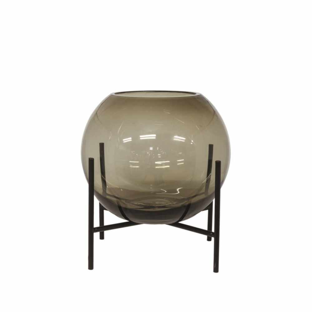 Vaza rotunda din sticla Bubble H20cm maro la pret 222 lei