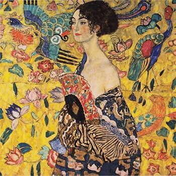 Reproducere tablou Gustav Klimt - Lady With Fan, 70x70 cm la pret 190 lei