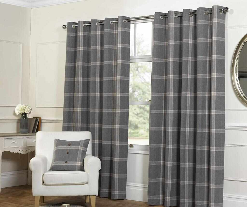 Set 2 draperii Plaid Check Grey 229x274 cm - Chateau de Belle Maison, Gri & Argintiu