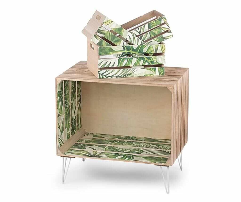 Set masuta si 3 lazi pentru depozitare Palm Leaves - Disraeli, Multicolor la pret 269.99 lei