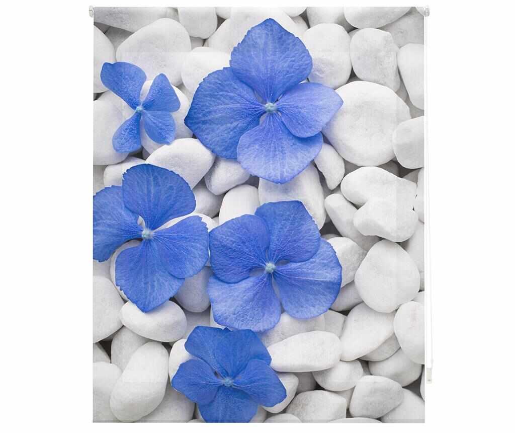Jaluzea tip rulou Pebbles and Flowers 120x180 cm - Blindecor, Albastru la pret 189.99 lei