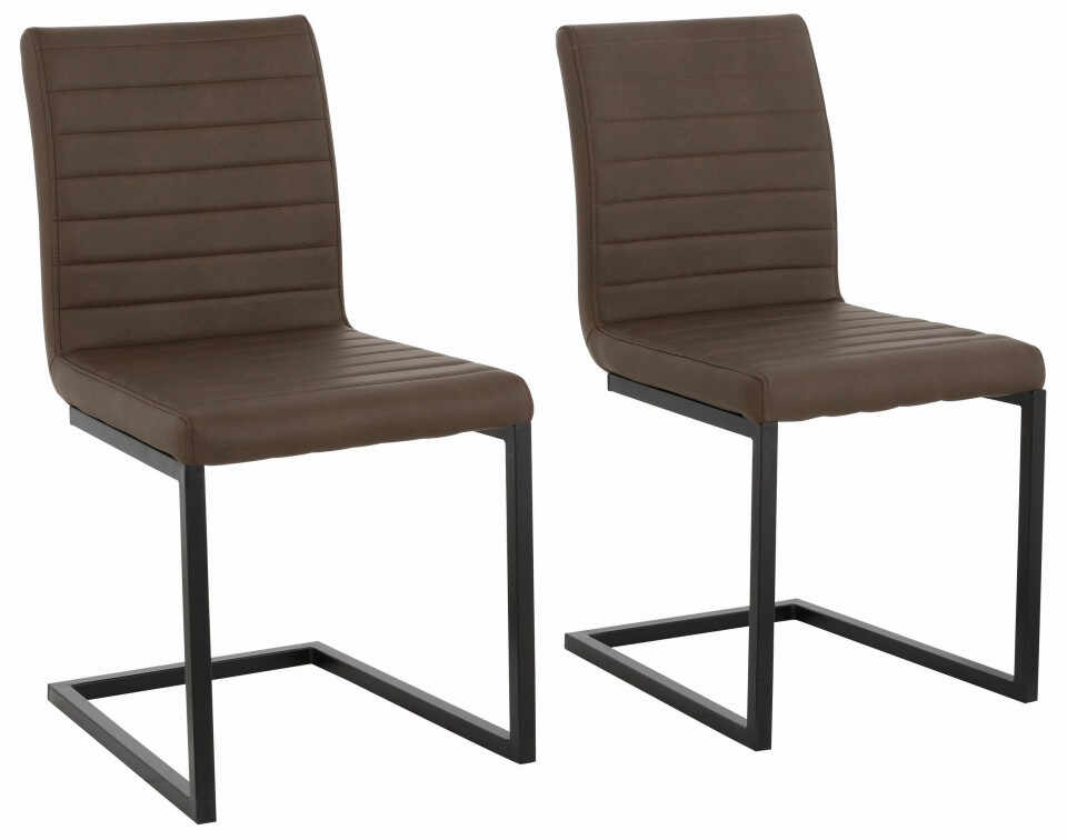 Set de 2 scaune Sabine piele sintetica/metal, maro 54 x 59 x 87 cm la pret 481.8 lei
