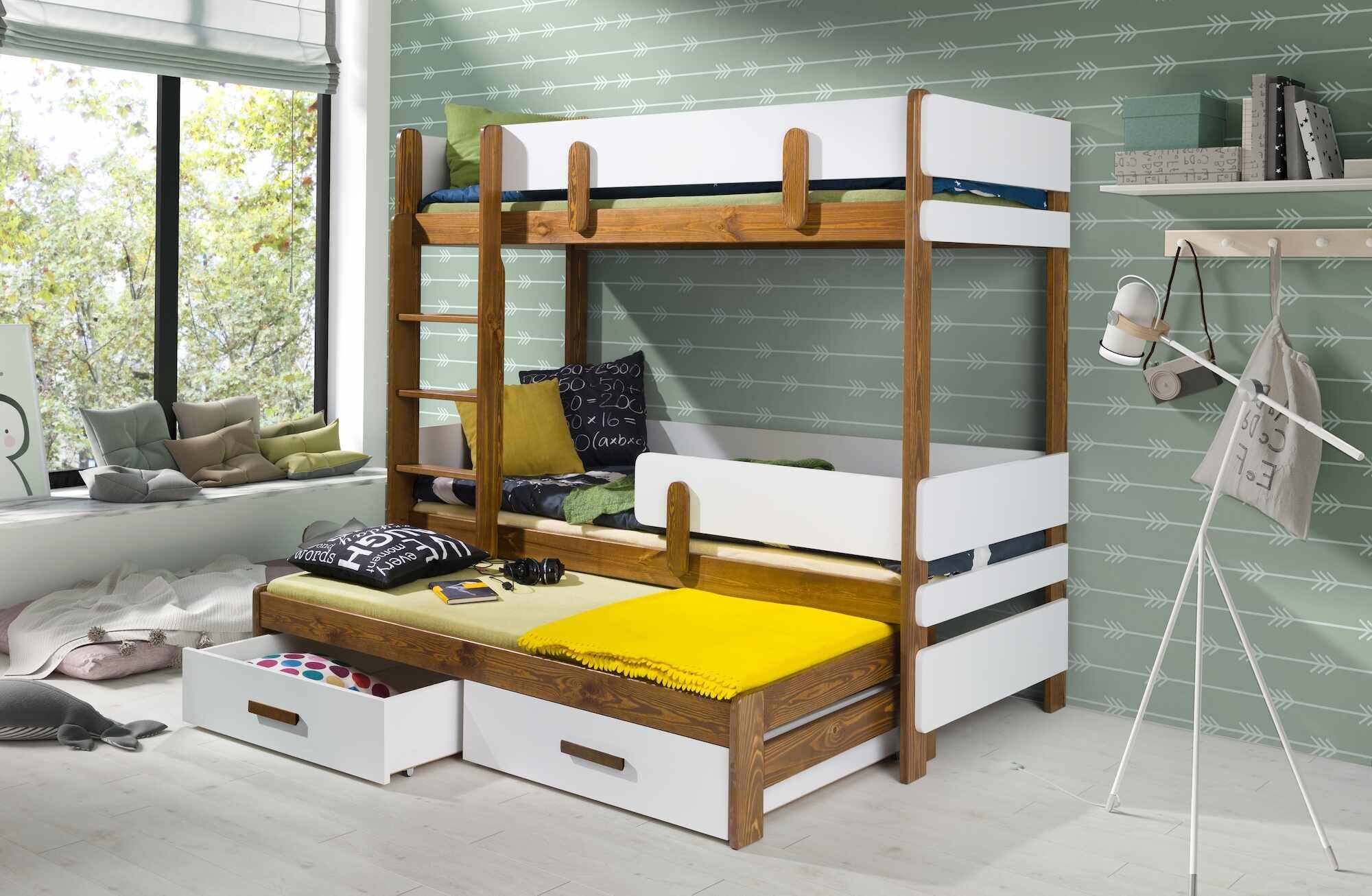 Pat supraetajat din lemn de pin si pal, cu 2 sertare si 3 locuri, pentru copii Ettore III, 200 x 90 cm la pret 2654 lei