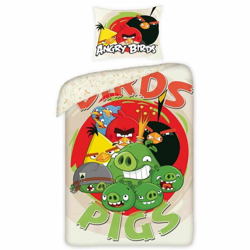 Lenjerie de pat copii Cotton Angry Birds 5008-200 x 160 cm