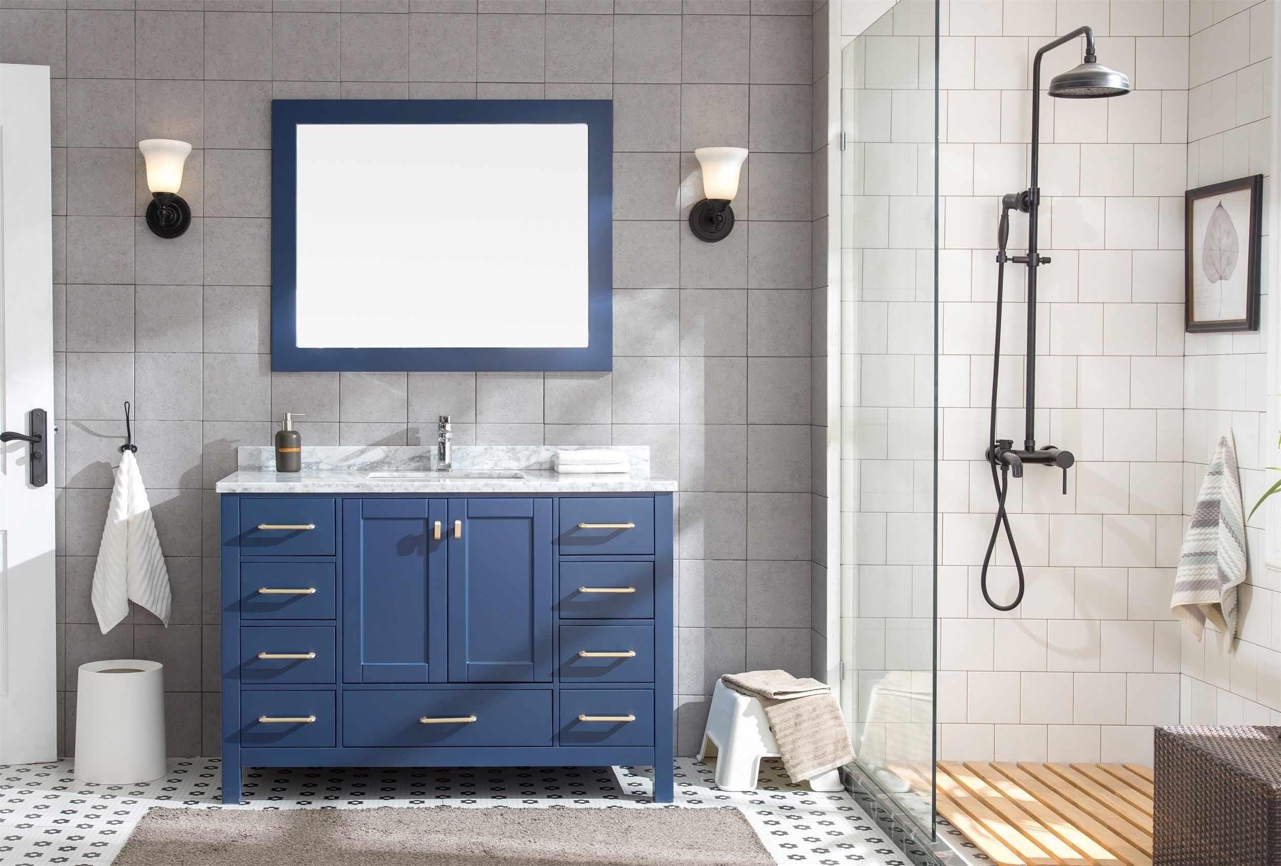 Set mobilier pentru baie din lemn, Rustica Albastru 122 cm, 3 piese la pret 5744 lei