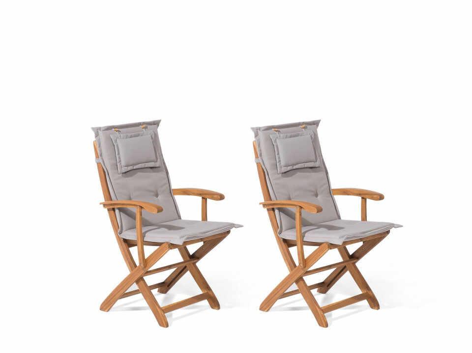 Set de 2 scaune de salcam de gradina MAUI, cu perne gri bej incluse la pret 640 lei