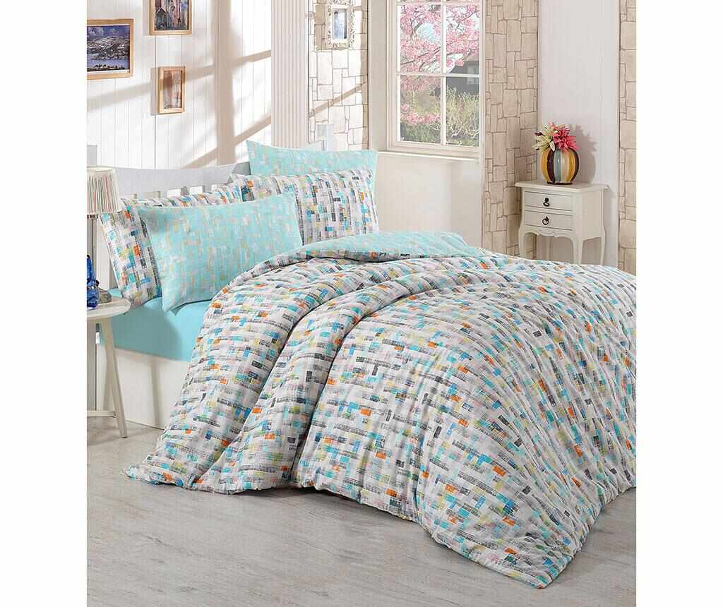 Lenjerie de pat King Ranforce Ariela Blue 200x220 - Majoli Bahar Home Collection, Albastru la pret 179.99 lei