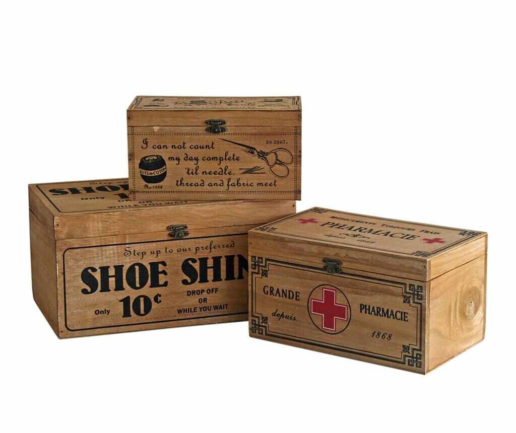 Set 3 cutii cu capac Sinope - Originals, Maro la pret 179.99 lei