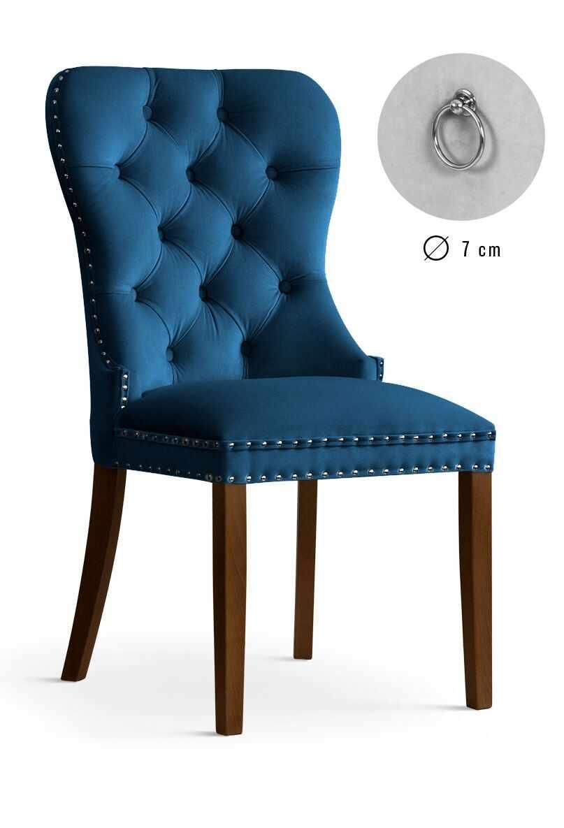 Scaun tapitat cu stofa si picioare din lemn Madame Velvet Bleumarin / Nuc, l51xA63xH99 cm la pret 1105 lei