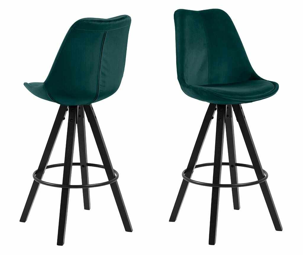 Set 2 scaune de bar Dima Dark Green Black - actona, Verde