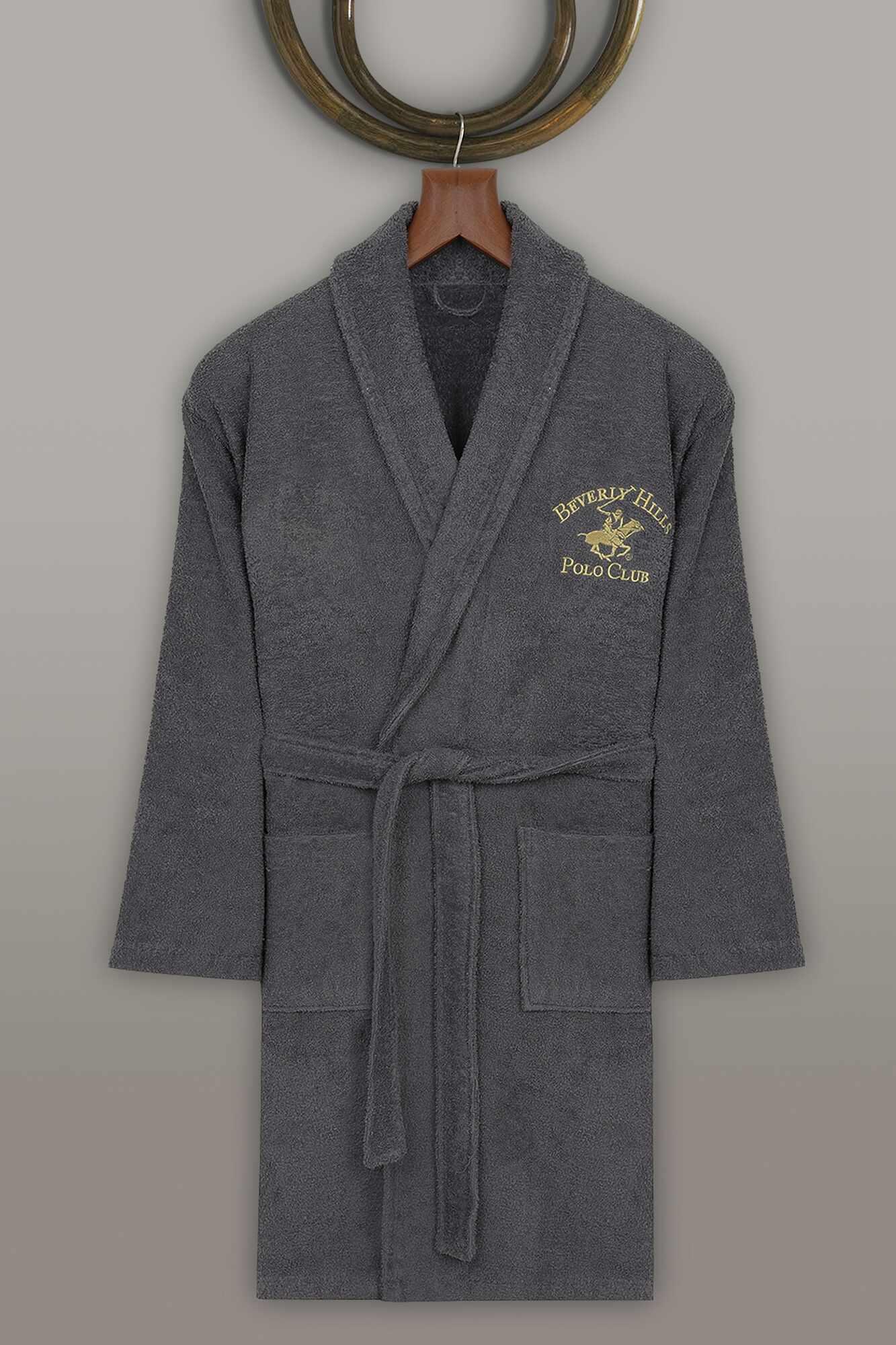 Halat de baie unisex, din bumbac, Beverly Hills Polo Club 700 Antracit, M / L la pret 182 lei