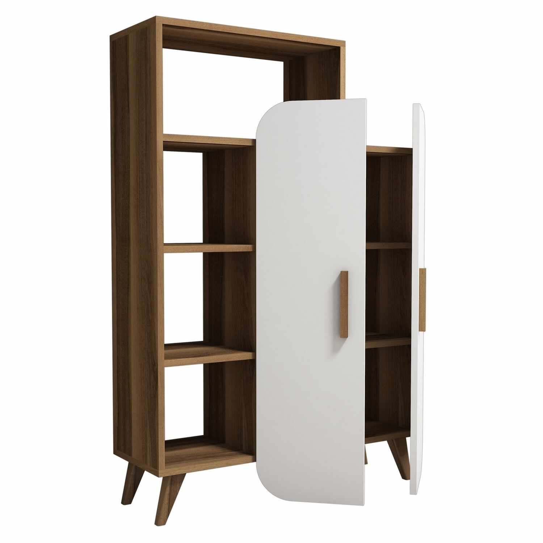 Cabinet din pal cu 2 usi Form Nuc / Alb, l90xA32xH132 cm la pret 652 lei