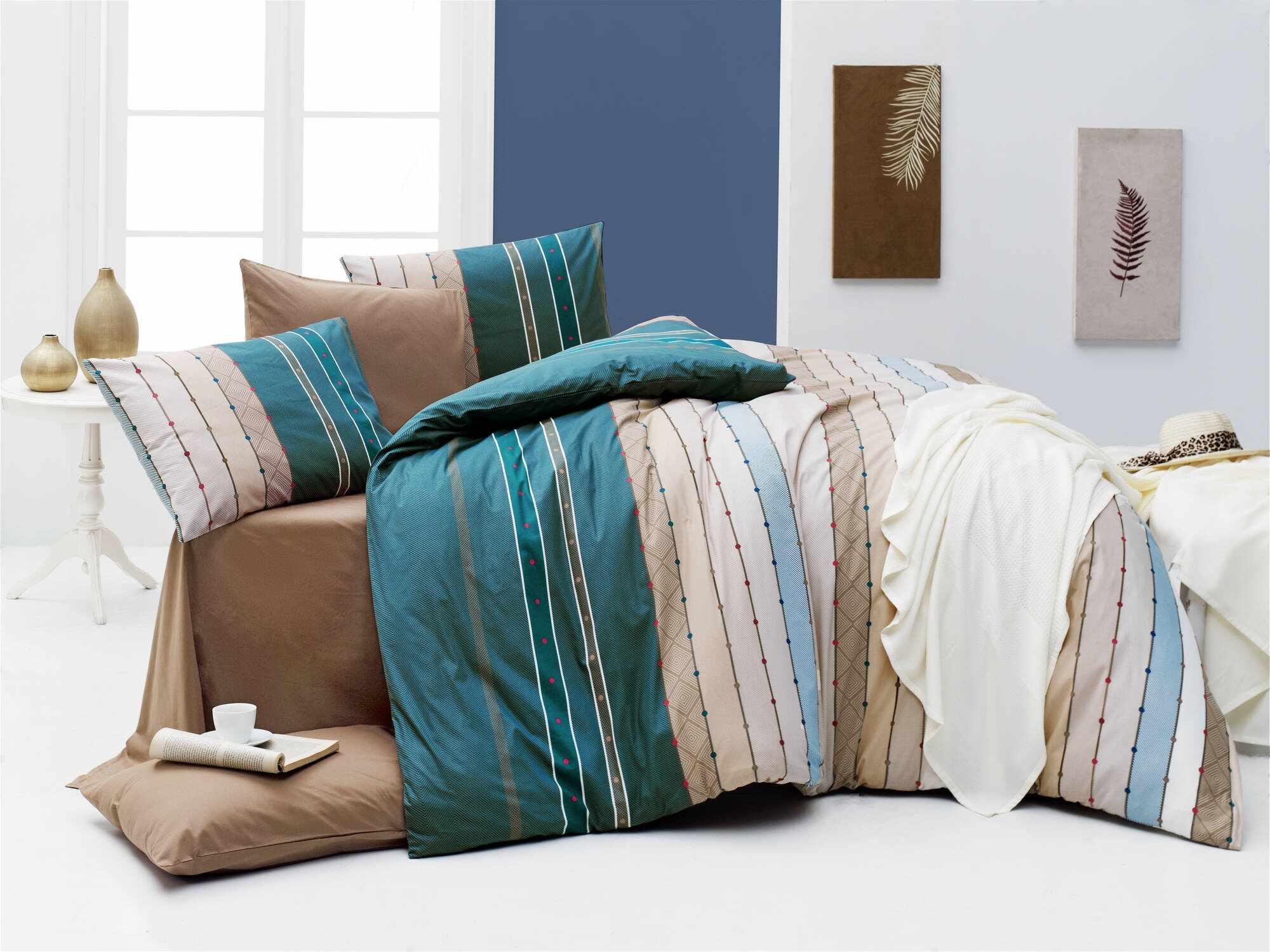 Lenjerie de pat din bumbac Ranforce, Ruling Multicolor, 200 x 220 cm la pret 209 lei