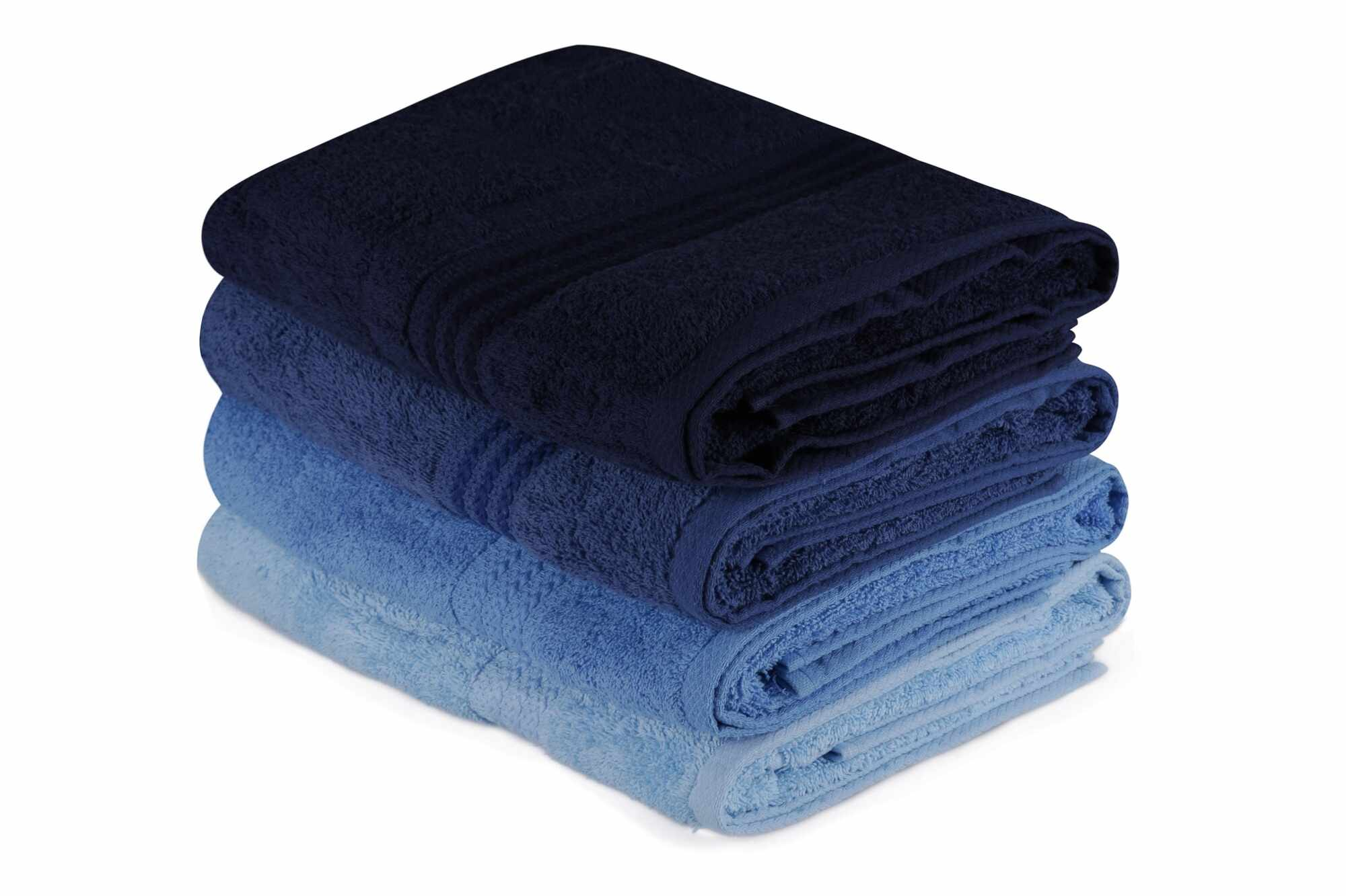 Set 4 prosoape baie din bumbac, Rainbow Albastru / Bleumarin, 70 x 140 cm la pret 178 lei