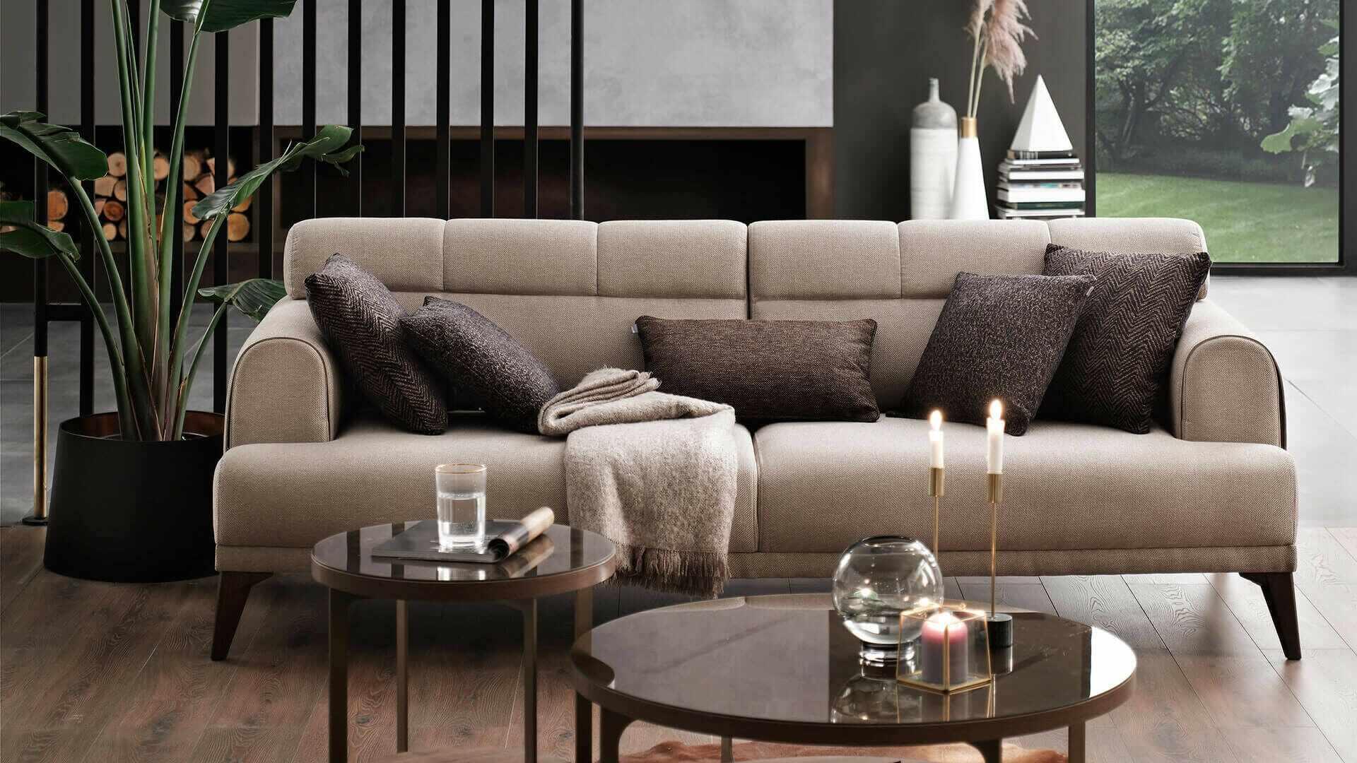 Canapea fixa cu mecanism Relax, tapitata cu stofa 3 locuri Madrid Bej, l231xA102xH80 cm la pret 4105 lei