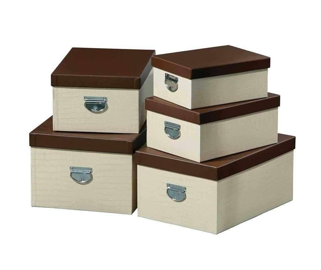 Set 5 cutii cu capac Cream Crocodile - Premier, Crem la pret 189.99 lei