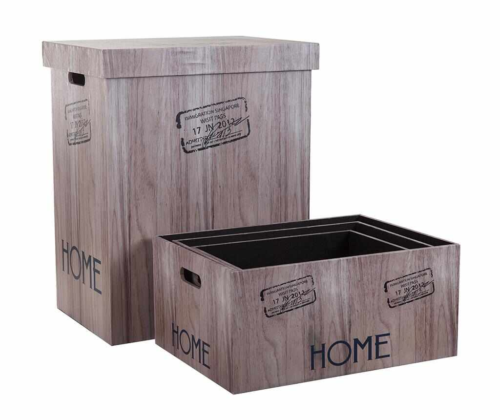 Set cos cu capac pentru rufe si 3 cutii pentru depozitare Home - Creaciones Meng, Maro la pret 239.99 lei