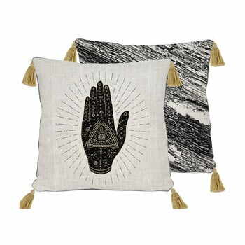 Pernă Madre Selva Hand,45x45cm, bej - negru la pret 158 lei