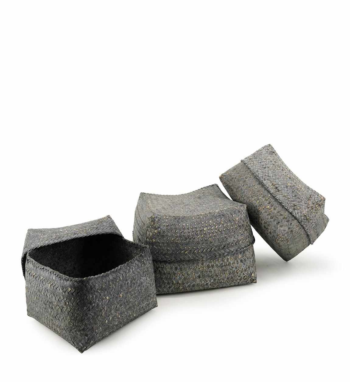 Set 3 cosuri pentru depozitare Bamboo Square Gri, Ø30xH18 cm / Ø26xH16 cm / Ø23xH15 cm la pret 159 lei