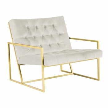 Fotoliu Mazzini Sofas BONO cu structură metalică, auriu - crem la pret 2763 lei
