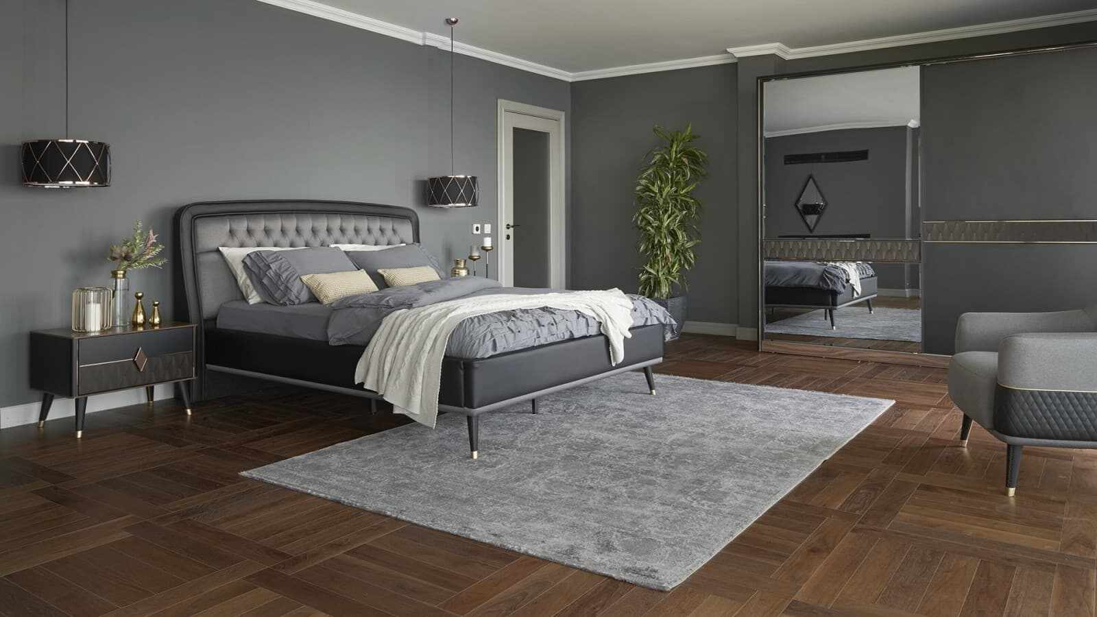 Set Mobila Dormitor din pal, cu pat 200 x 160 cm, 4 piese Diamond Negru / Grafit la pret 15529 lei