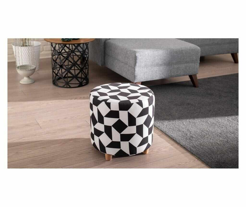 Taburet Begon Black And White - Balcab Home, Negru la pret 289.99 lei