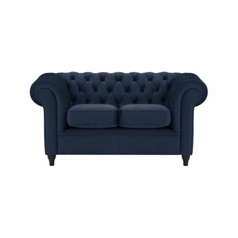 Canapea Chesterfield cu 2 locuri, albastru la pret 1792 lei