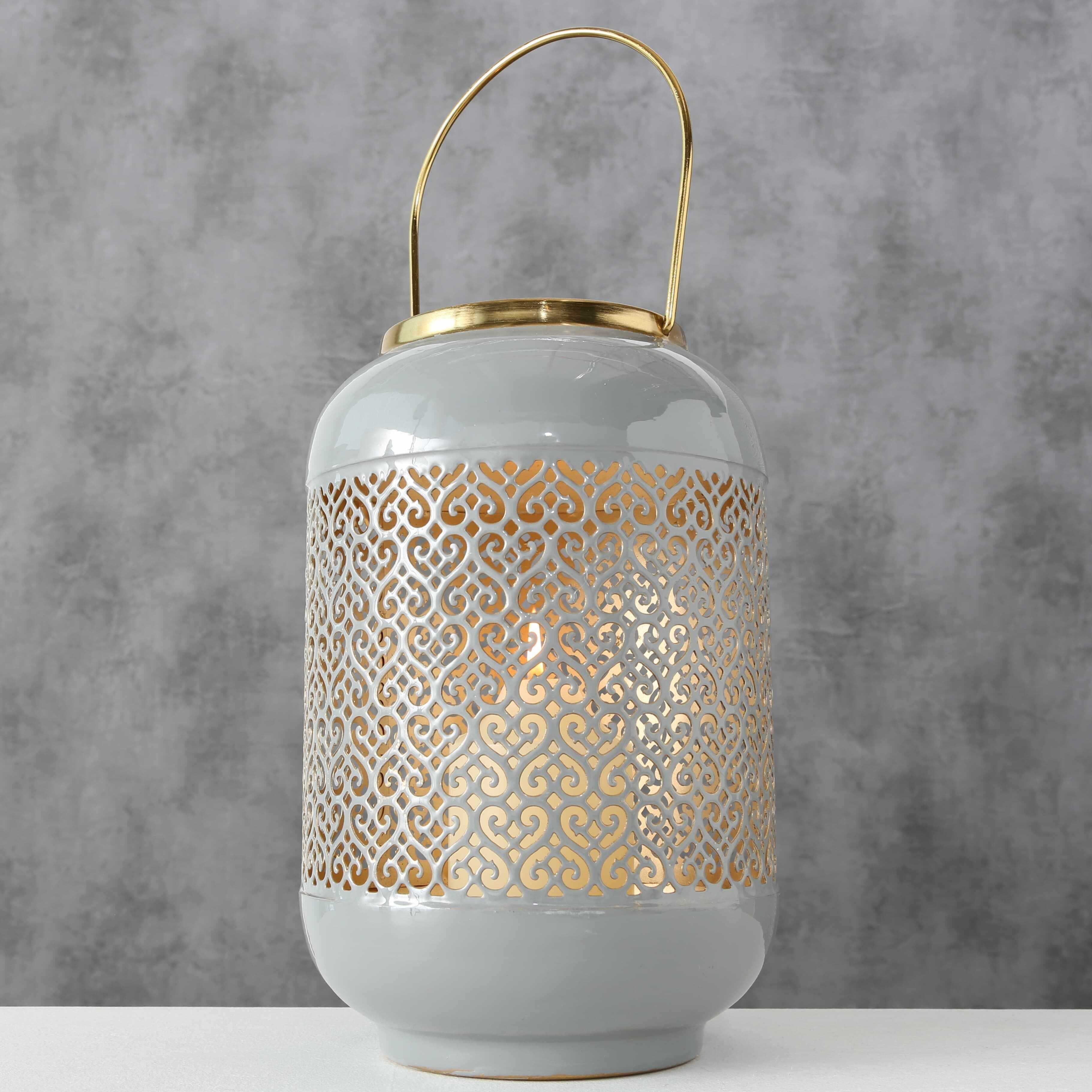Felinar decorativ din metal Astair Gri / Auriu, Ø18xH27 cm la pret 165 lei