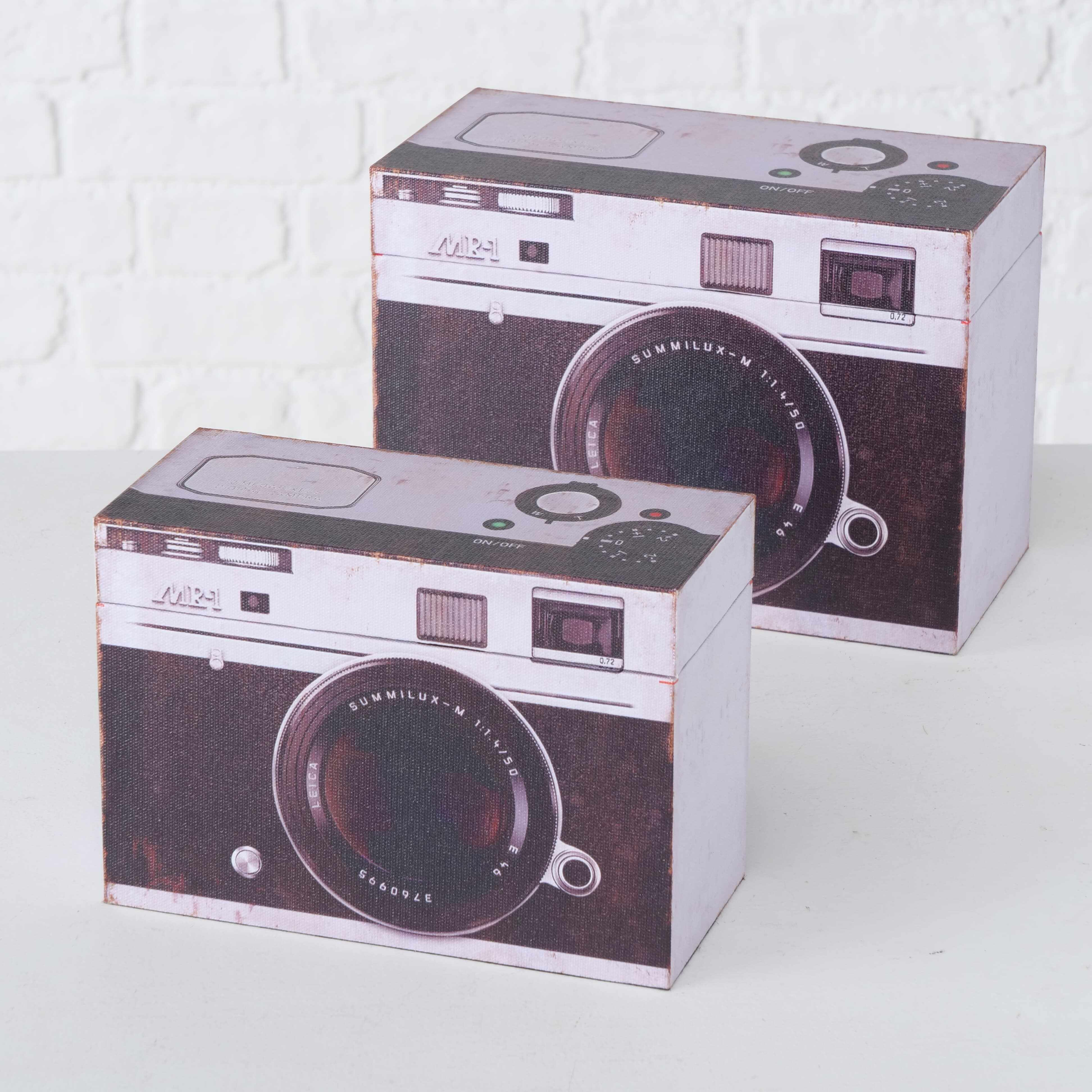 Set 2 cutii pentru depozitare, din MDF Fotoapparat Alb / Negru, L24xl12xH17 cm / L20xl9xH14 cm la pret 168 lei