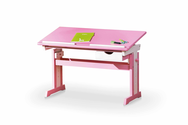 Masa de birou pentru copii, din MDF si lemn Cecilia Pink / White, L109xl55xH62-88 cm la pret 490 lei