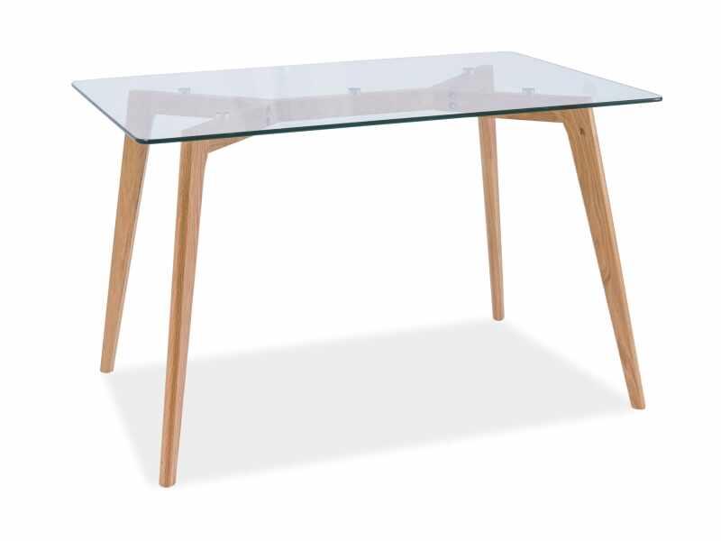 Masa din lemn masiv si sticla Oslo, L120xl80xh75 cm la pret 870 lei