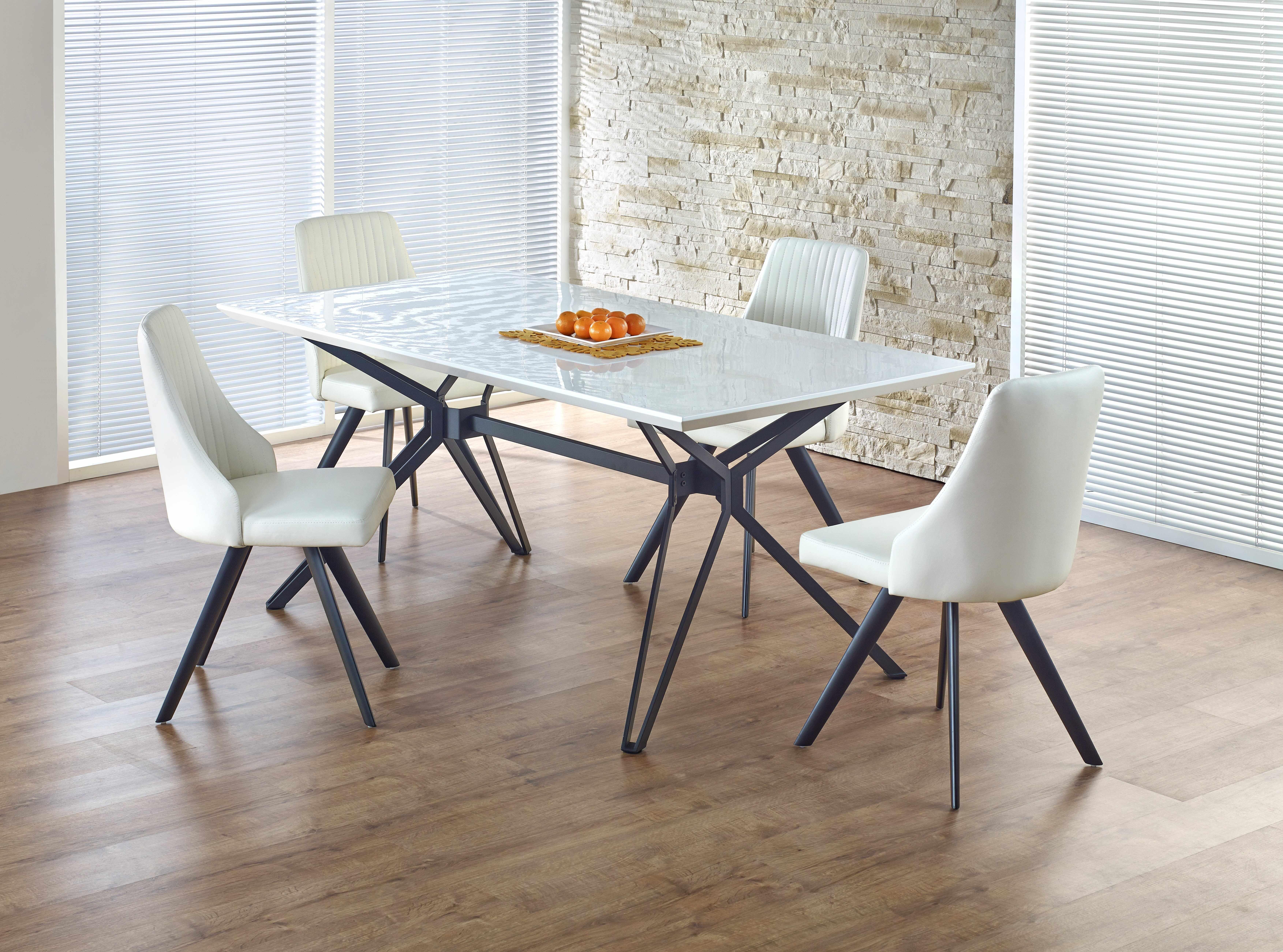 Set masa din MDF si metal Pascal White / Black + 4 scaune K206 White / Black, L160xl90xH76 cm la pret 3198 lei